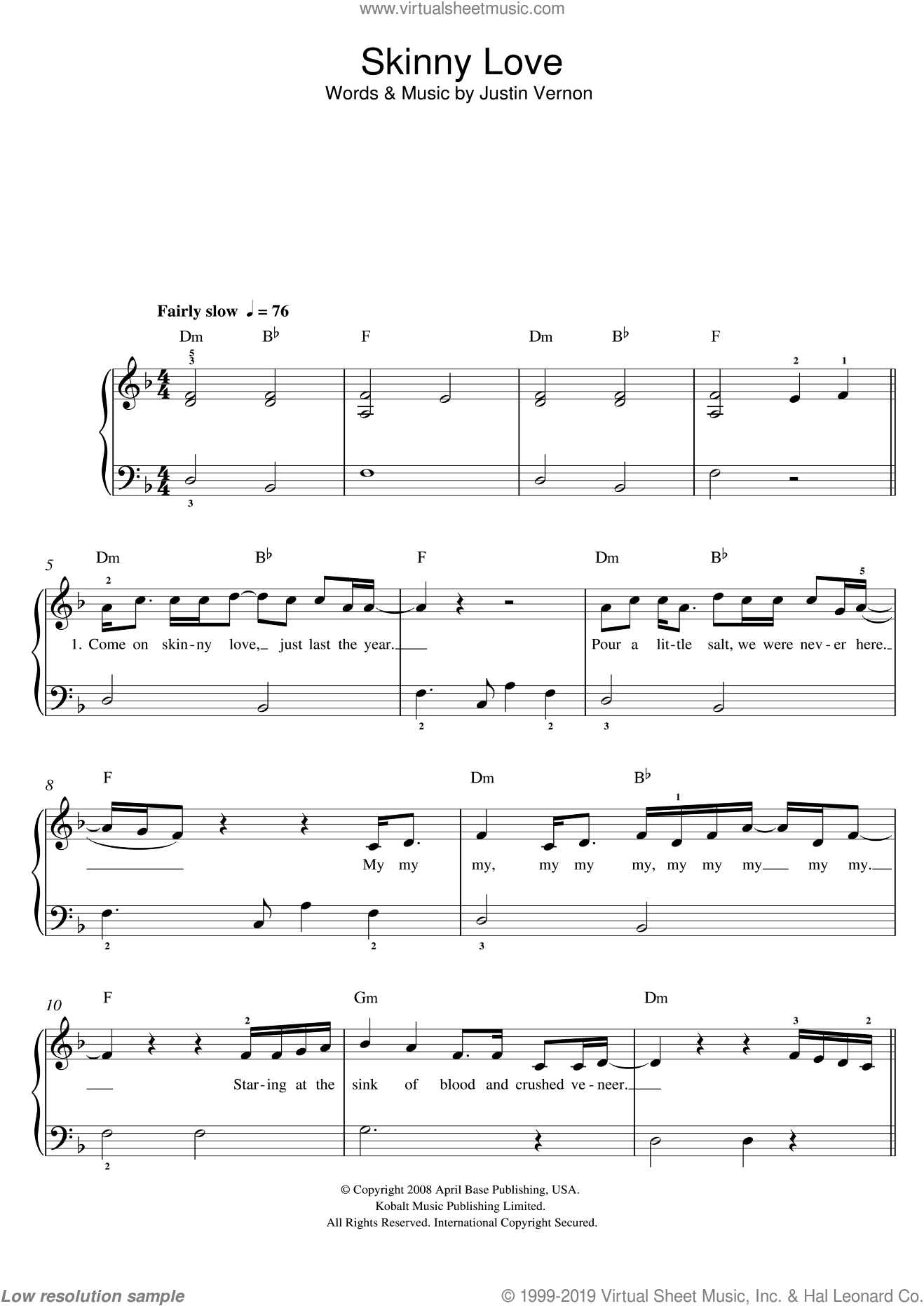 Skinny Love sheet music for piano solo by Justin Vernon and Birdy. Score Image Preview.