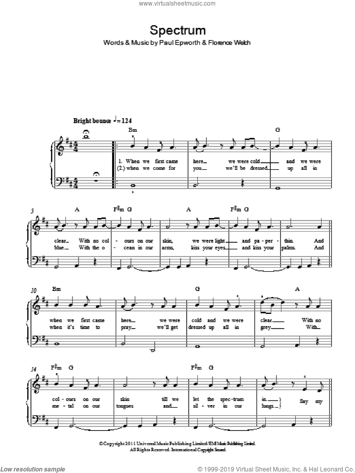 Spectrum sheet music for piano solo by Paul Epworth and Florence Welch. Score Image Preview.
