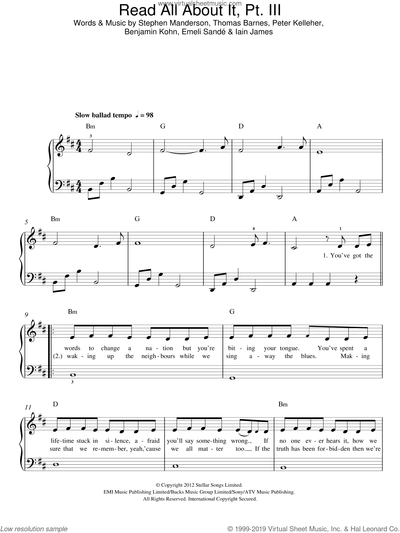 Read All About It, Part III sheet music for piano solo by Emeli Sande, Benjamin Kohn, Iain James, Peter Kelleher, Stephen Manderson and Thomas Barnes, easy skill level