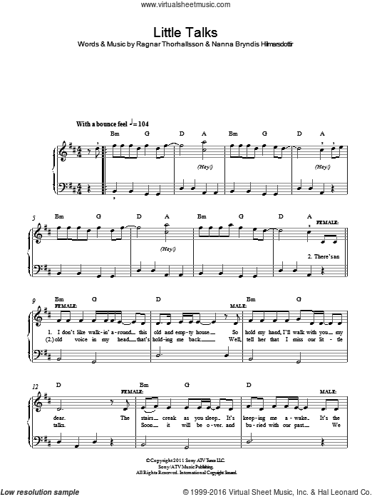 Little Talks sheet music for piano solo by Ragnar Thorhallsson, Of Monsters And Men and Nanna Bryndis Hilmarsdottir. Score Image Preview.