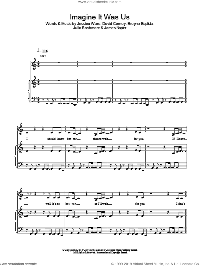 Imagine It Was Us sheet music for voice, piano or guitar by Jessie Ware. Score Image Preview.