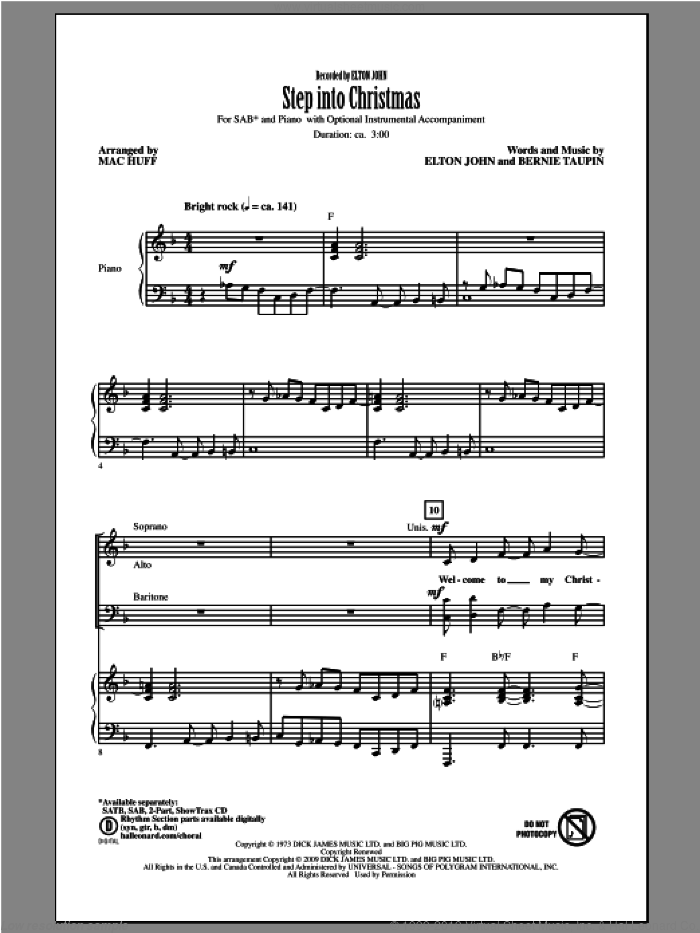 Step Into Christmas sheet music for choir and piano (SAB) by Mac Huff. Score Image Preview.