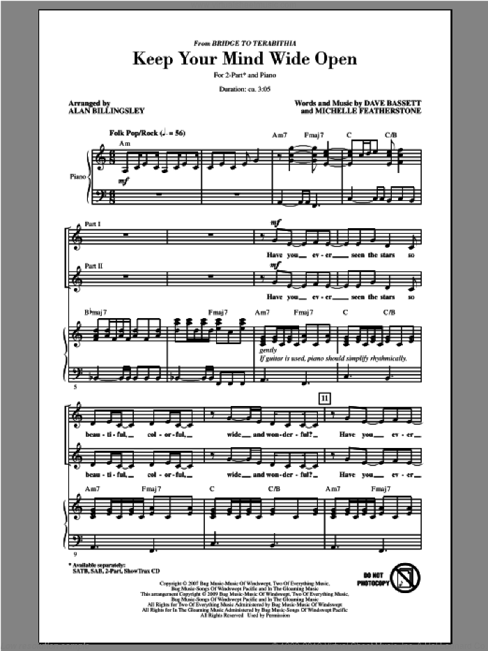 Keep Your Mind Wide Open sheet music for choir (duets) by Alan Billingsley. Score Image Preview.