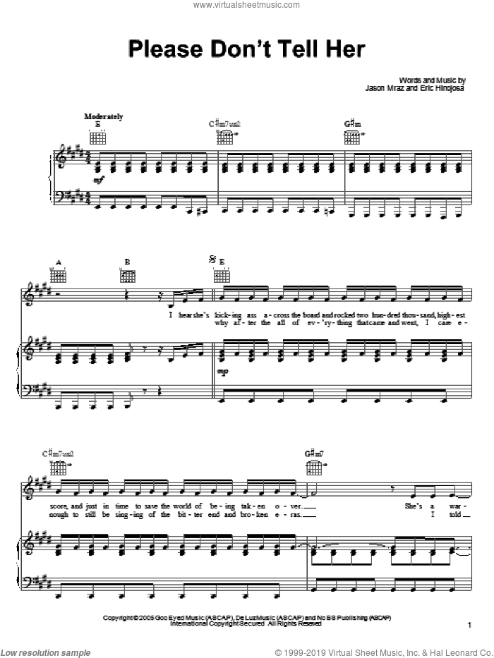 Please Don't Tell Her sheet music for voice, piano or guitar by Jason Mraz. Score Image Preview.