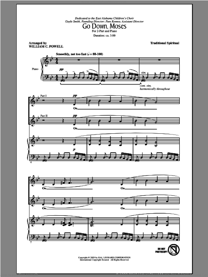 Go Down, Moses sheet music for choir and piano (duets) by William C. Powell. Score Image Preview.