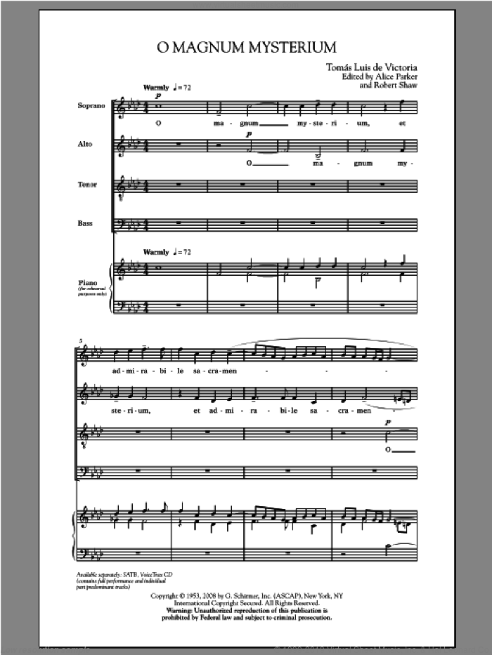 O Magnum Mysterium sheet music for choir and piano (SATB) by Robert Shaw and Alice Parker. Score Image Preview.
