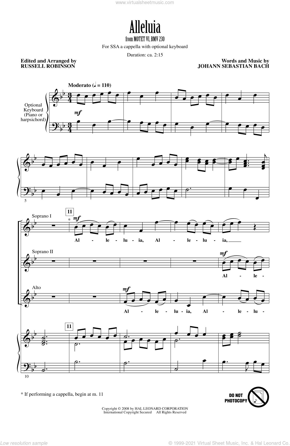 Alleluia (from Motet VI, BWV 230) sheet music for choir (soprano voice, alto voice, choir) by Johann Sebastian Bach and Russell Robinson. Score Image Preview.