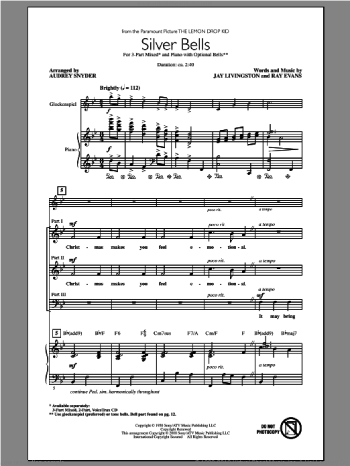 Silver Bells sheet music for choir (3-Part Mixed) by Audrey Snyder, intermediate. Score Image Preview.