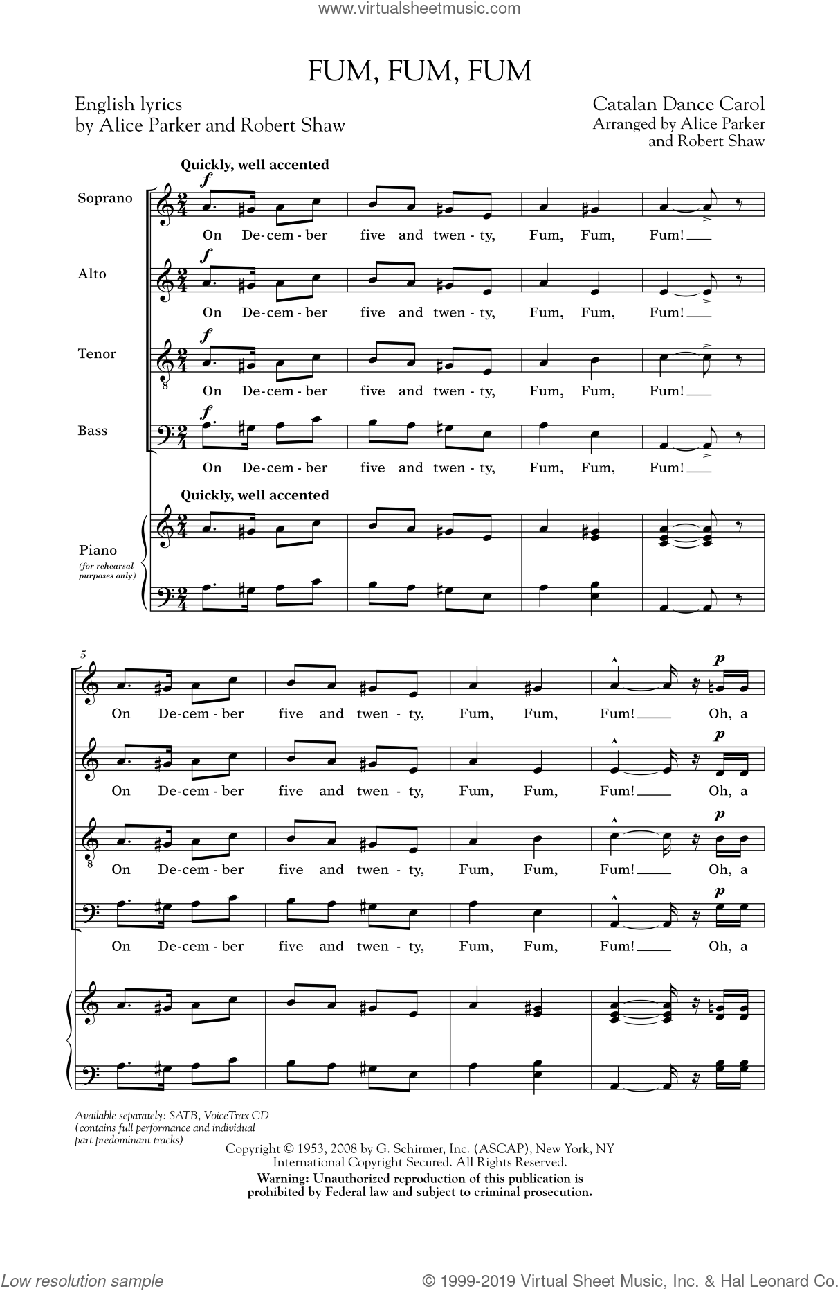 Fum, Fum, Fum sheet music for choir and piano (SATB) by Robert Shaw and Alice Parker. Score Image Preview.