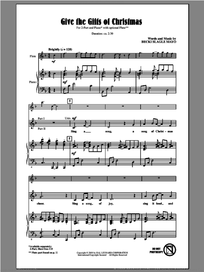 Give The Gifts Of Christmas sheet music for choir (2-Part) by Becki Slagle Mayo, intermediate duet. Score Image Preview.