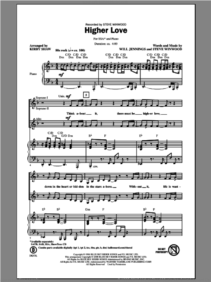 Higher Love sheet music for choir (soprano voice, alto voice, choir) by Kirby Shaw and Steve Winwood. Score Image Preview.