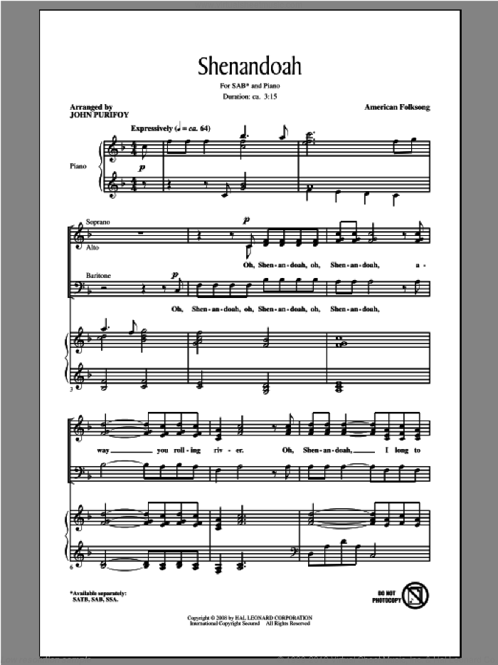 Shenandoah sheet music for choir (SAB: soprano, alto, bass) by John Purifoy, intermediate skill level