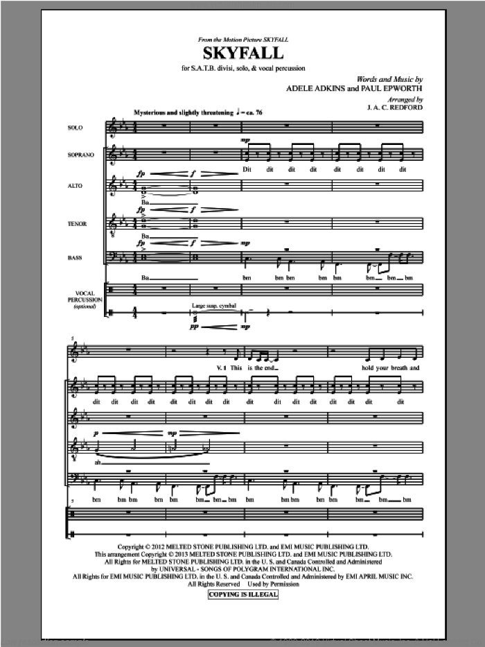 Skyfall sheet music for choir (SATB) by Adele, Jac Redford and Paul Epworth, intermediate choir (SATB). Score Image Preview.