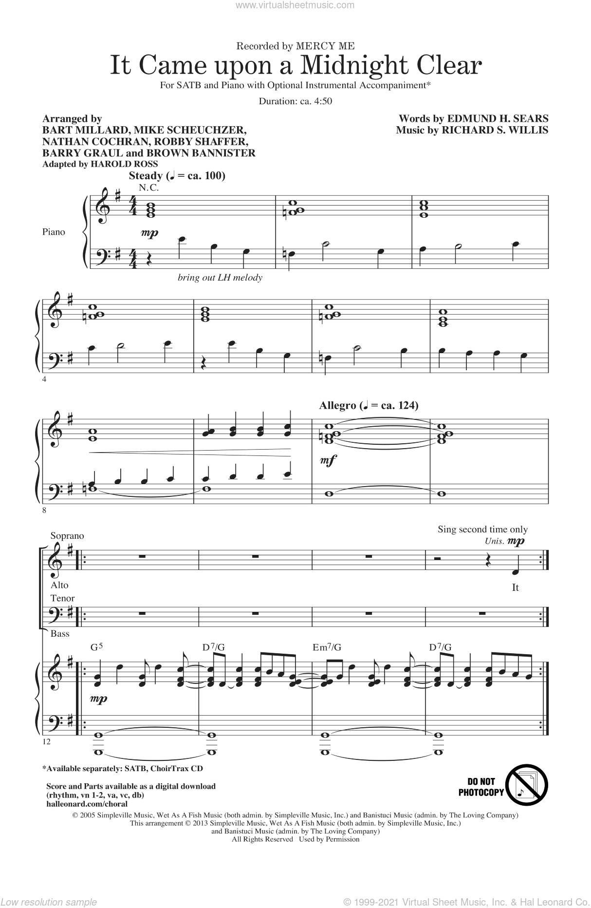 It Came Upon A Midnight Clear sheet music for choir and piano (SATB) by Harold Ross