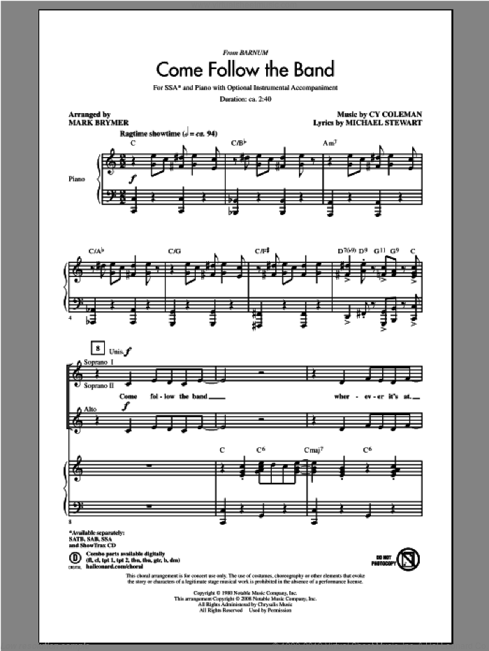 Come Follow The Band sheet music for choir (soprano voice, alto voice, choir) by Mark Brymer. Score Image Preview.