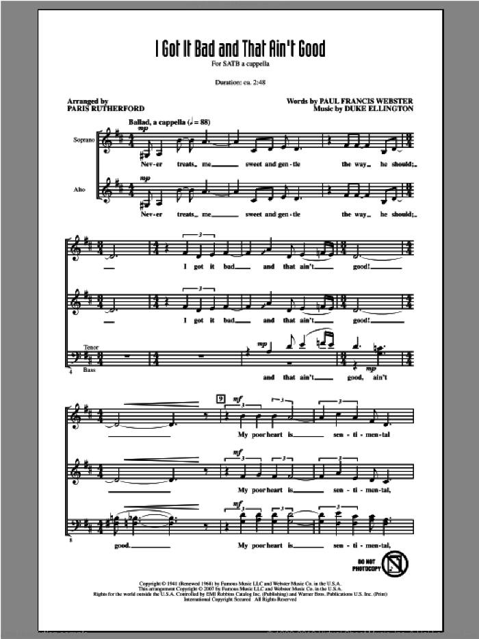 I Got It Bad And That Ain't Good sheet music for choir (SATB: soprano, alto, tenor, bass) by Paris Rutherford, intermediate