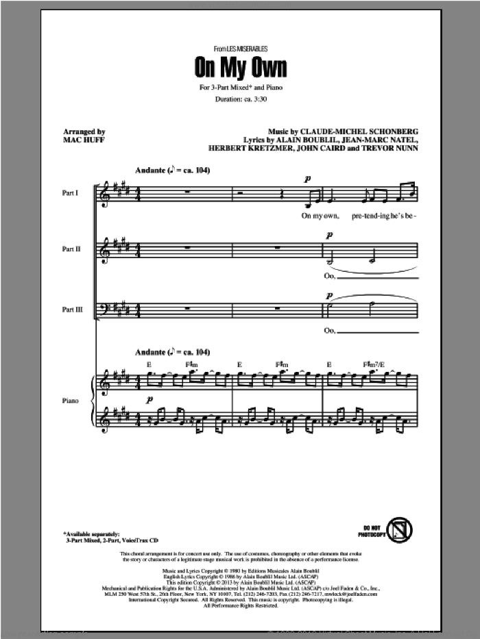 On My Own sheet music for choir (3-Part Mixed) by Mac Huff, Alain Boublil, Claude-Michel Schonberg and Les Miserables (Movie), intermediate skill level