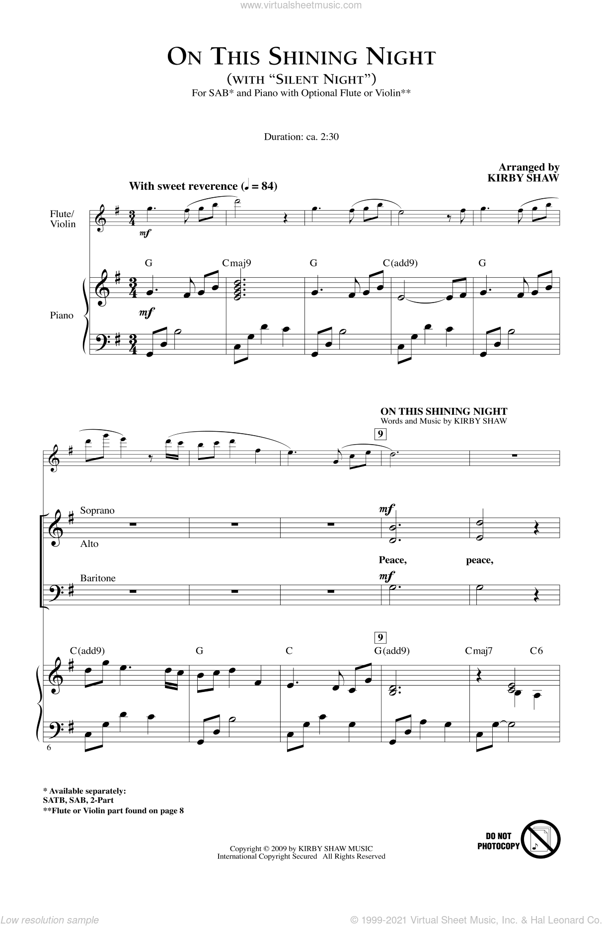 On This Shining Night (with Silent Night) sheet music for choir (SAB: soprano, alto, bass) by Kirby Shaw, intermediate skill level
