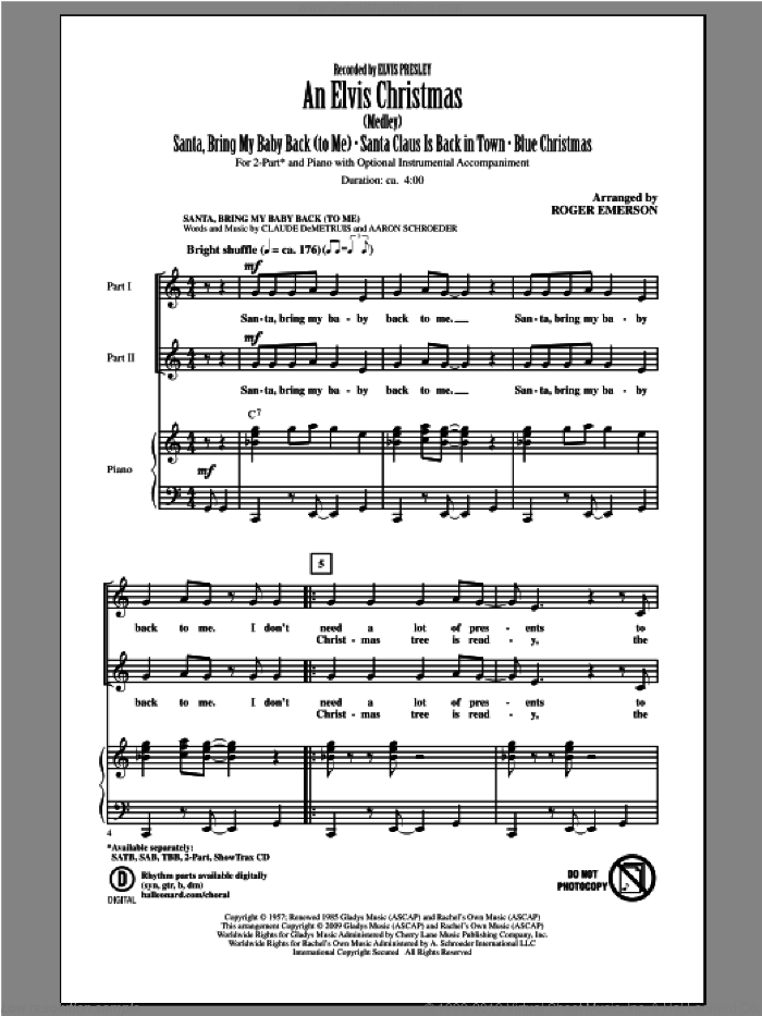 An Elvis Christmas sheet music for choir (duets) by Roger Emerson and Elvis Presley. Score Image Preview.