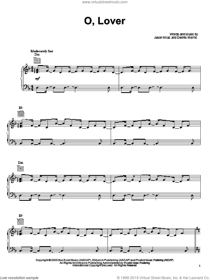 O, Lover sheet music for voice, piano or guitar by Jason Mraz and Dennis Morris, intermediate skill level