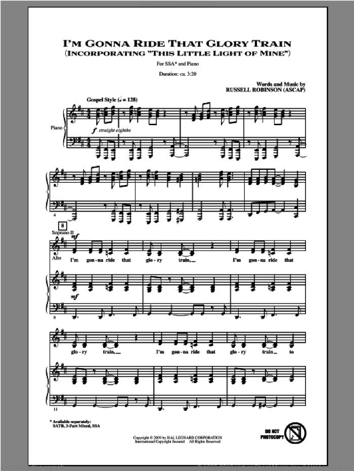 I'm Gonna Ride That Glory Train sheet music for choir (soprano voice, alto voice, choir) by Russell Robinson. Score Image Preview.