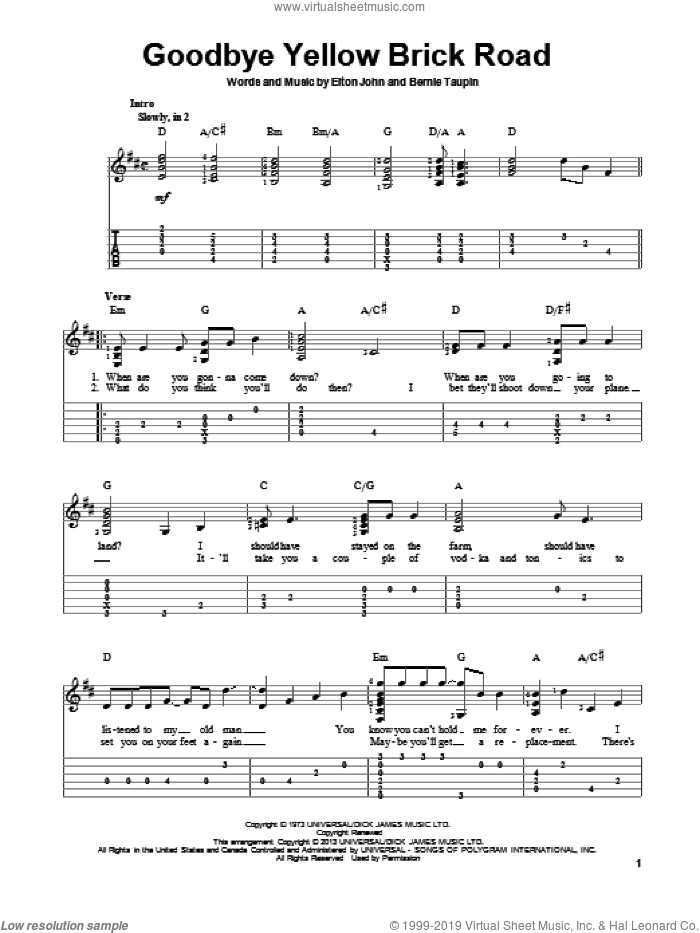 Goodbye Yellow Brick Road sheet music for guitar solo by Elton John, intermediate skill level