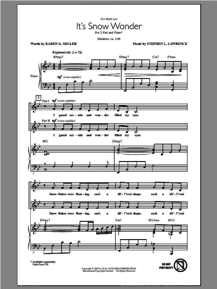 It's Snow Wonder sheet music for choir (2-Part) by Steve Lawrence, intermediate duet