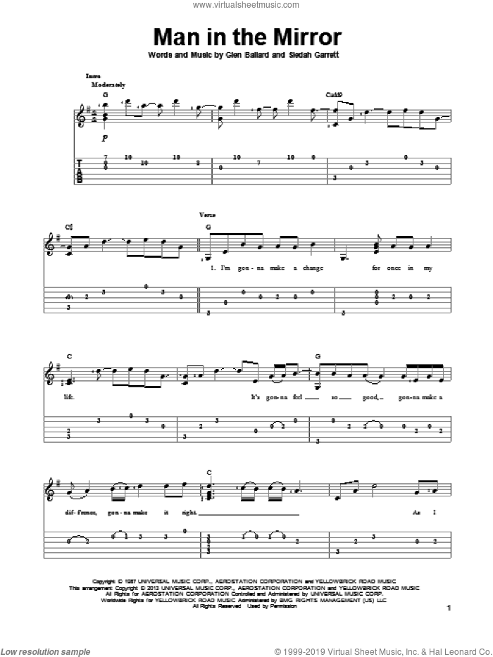 Man In The Mirror sheet music for guitar solo by Michael Jackson, intermediate skill level