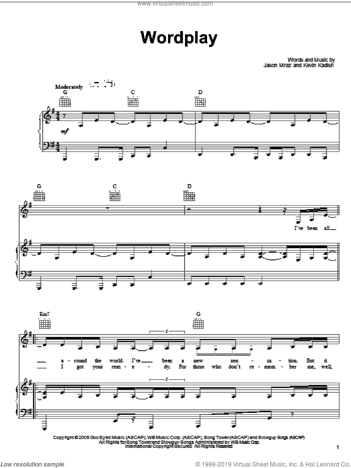 Wordplay sheet music for voice, piano or guitar by Jason Mraz and Kevin Kadish, intermediate skill level