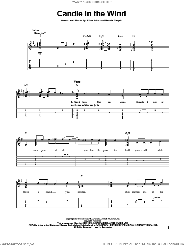 Candle In The Wind sheet music for guitar solo by Elton John. Score Image Preview.