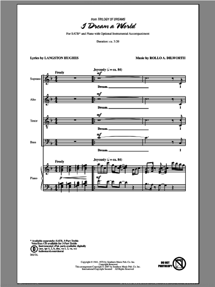 I Dream A World (from Trilogy of Dreams) sheet music for choir and piano (SATB) by Rollo Dilworth. Score Image Preview.