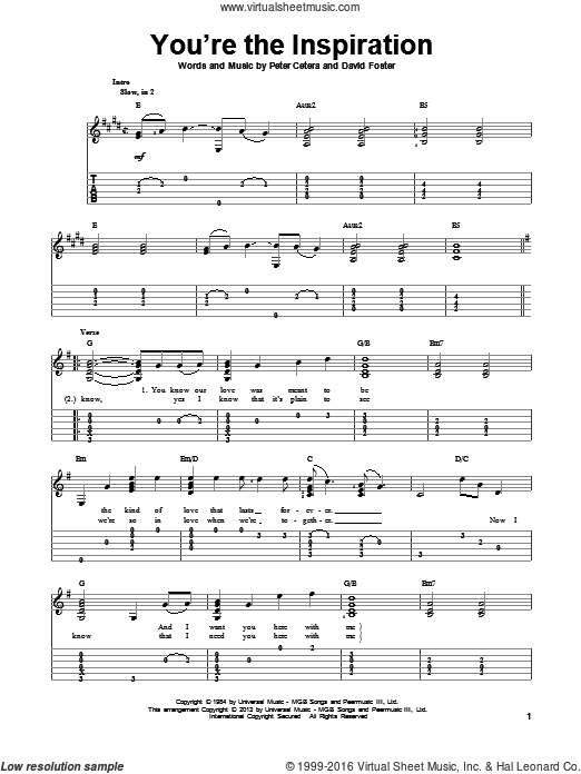 You're The Inspiration sheet music for guitar solo by Chicago. Score Image Preview.