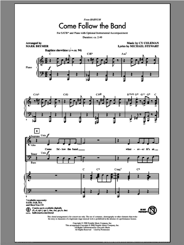 Come Follow The Band sheet music for choir (SATB) by Mark Brymer, intermediate choir (SATB). Score Image Preview.