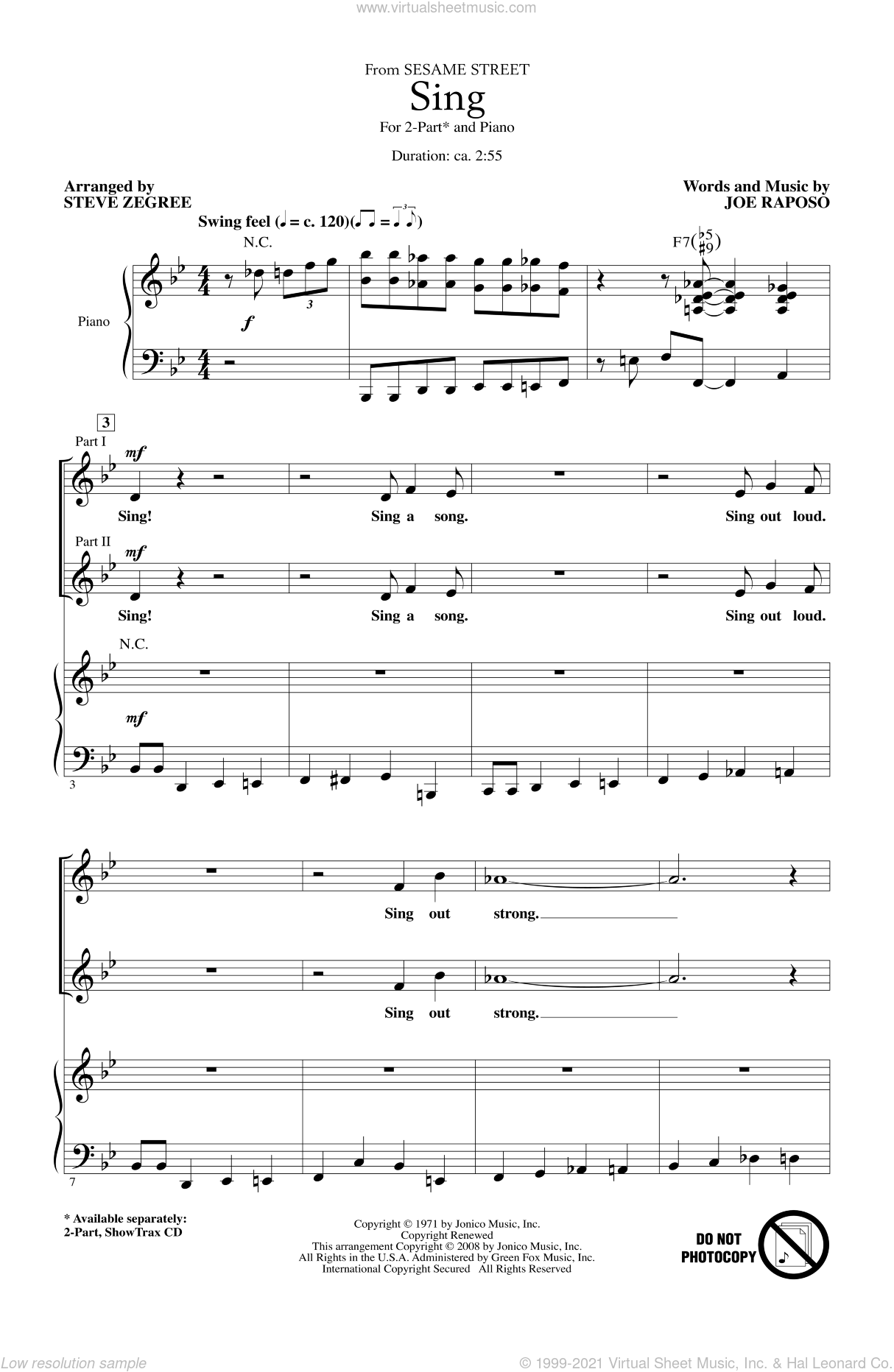 Sing sheet music for choir (2-Part) by Joe Raposo and Steve Zegree, intermediate duet. Score Image Preview.
