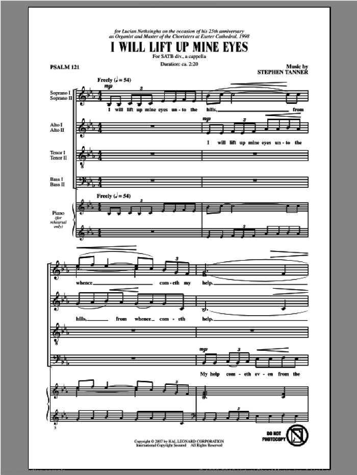 I Will Lift Up Mine Eyes sheet music for choir (SATB) by Stephen Tanner. Score Image Preview.