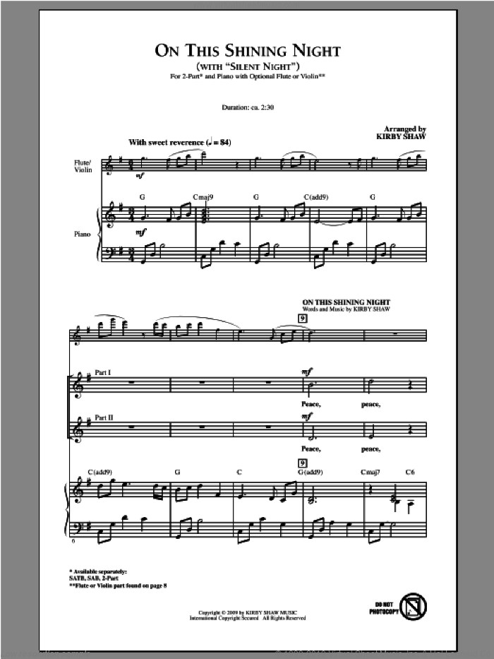 On This Shining Night (with Silent Night) sheet music for choir and piano (duets) by Kirby Shaw. Score Image Preview.