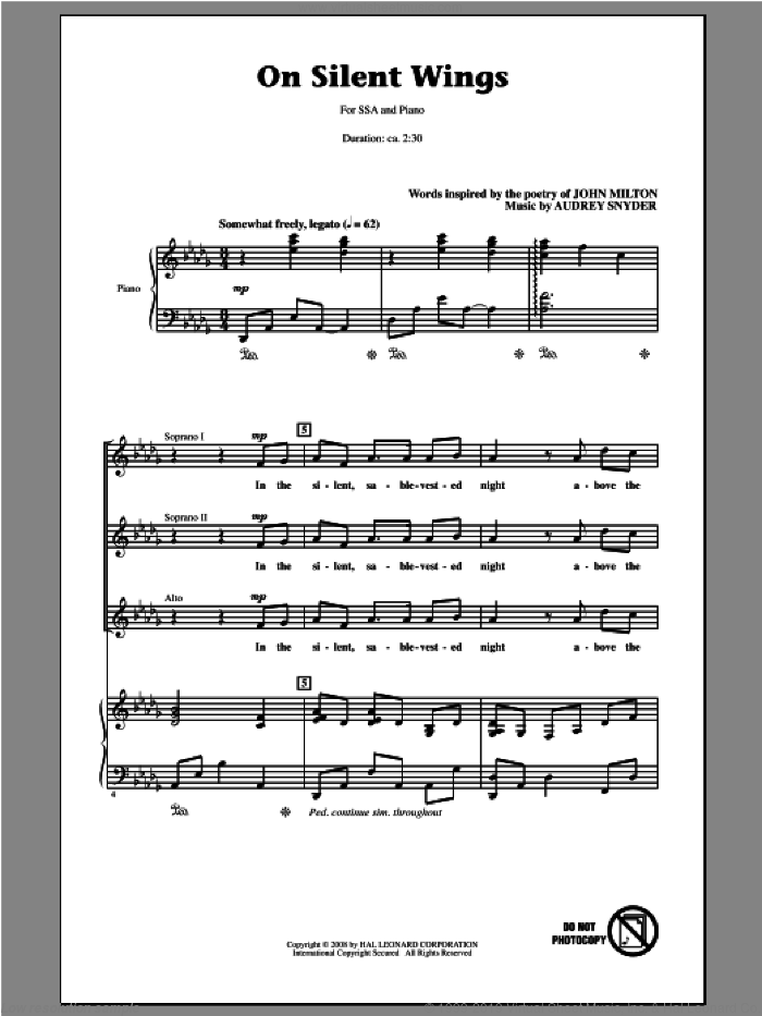 On Silent Wings sheet music for choir and piano (SSA) by Audrey Snyder. Score Image Preview.