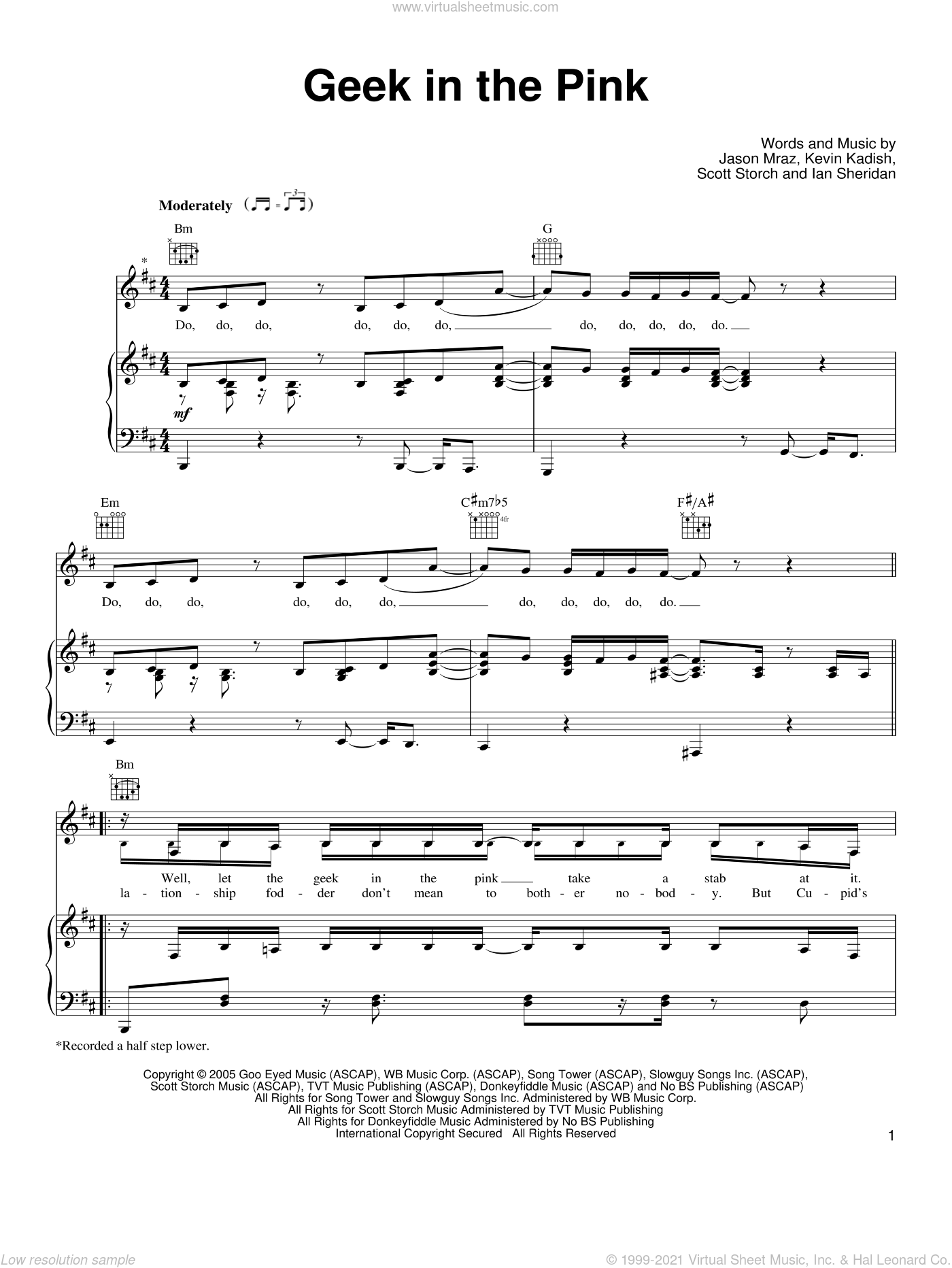 Geek In The Pink sheet music for voice, piano or guitar by Jason Mraz, Kevin Kadish and Scott Storch, intermediate voice, piano or guitar. Score Image Preview.
