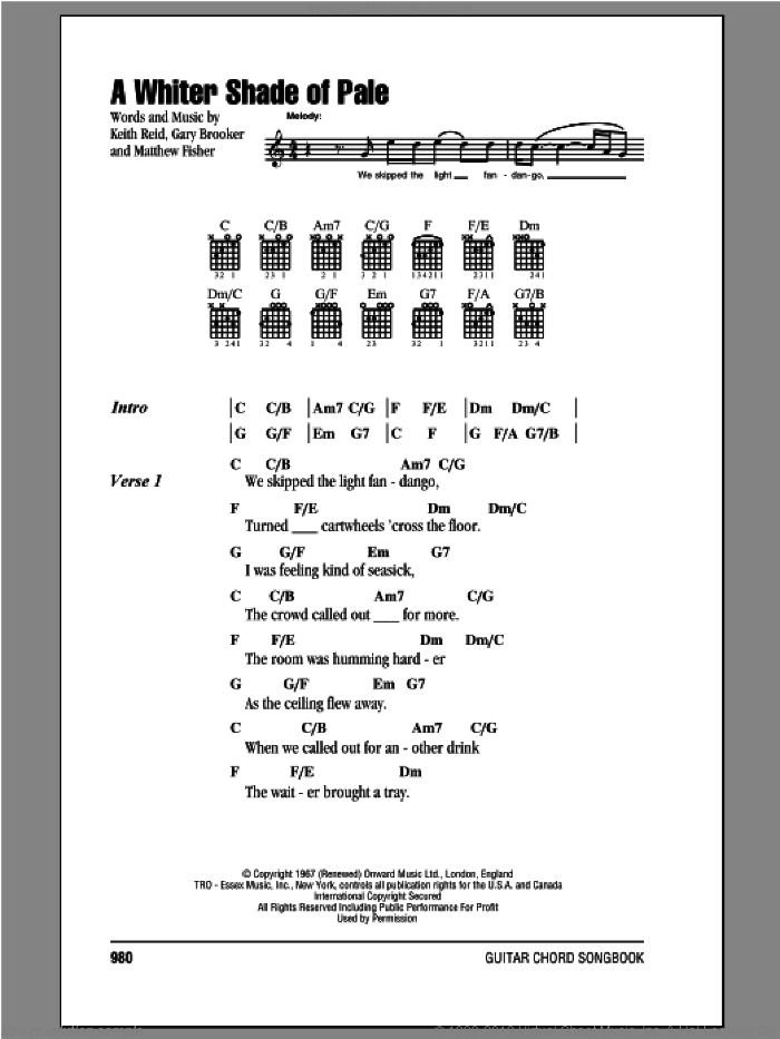 A Whiter Shade Of Pale sheet music for guitar (chords, lyrics, melody) by Procol Harum