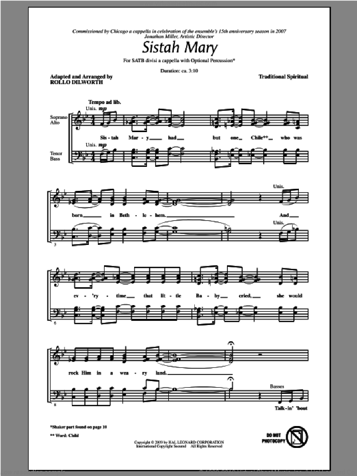 Sistah Mary sheet music for choir (SATB) by Rollo Dilworth. Score Image Preview.