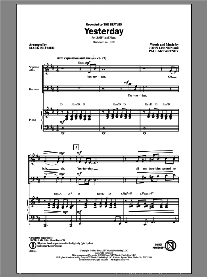 Yesterday sheet music for choir (SAB: soprano, alto, bass) by Mark Brymer, intermediate. Score Image Preview.