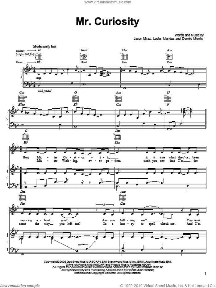 Mr. Curiosity sheet music for voice, piano or guitar by Lester Mendez, Dennis Morris and Jason Mraz
