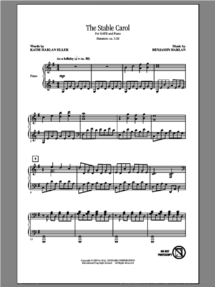 The Stable Carol sheet music for choir (SATB) by Benjamin Harlan, intermediate choir (SATB). Score Image Preview.