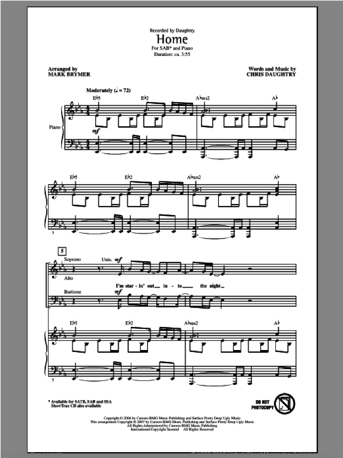 Home sheet music for choir (SAB: soprano, alto, bass) by Mark Brymer, Chris Daughtry and Daughtry, intermediate skill level