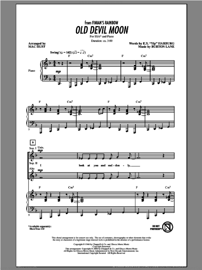 Old Devil Moon sheet music for choir (SSA: soprano, alto) by Mac Huff, intermediate skill level