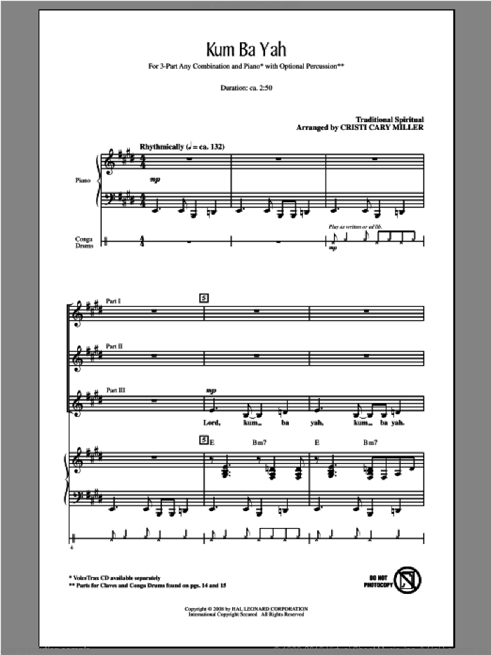 Kum Ba Yah sheet music for choir and piano (chamber ensemble) by Cristi Cary Miller