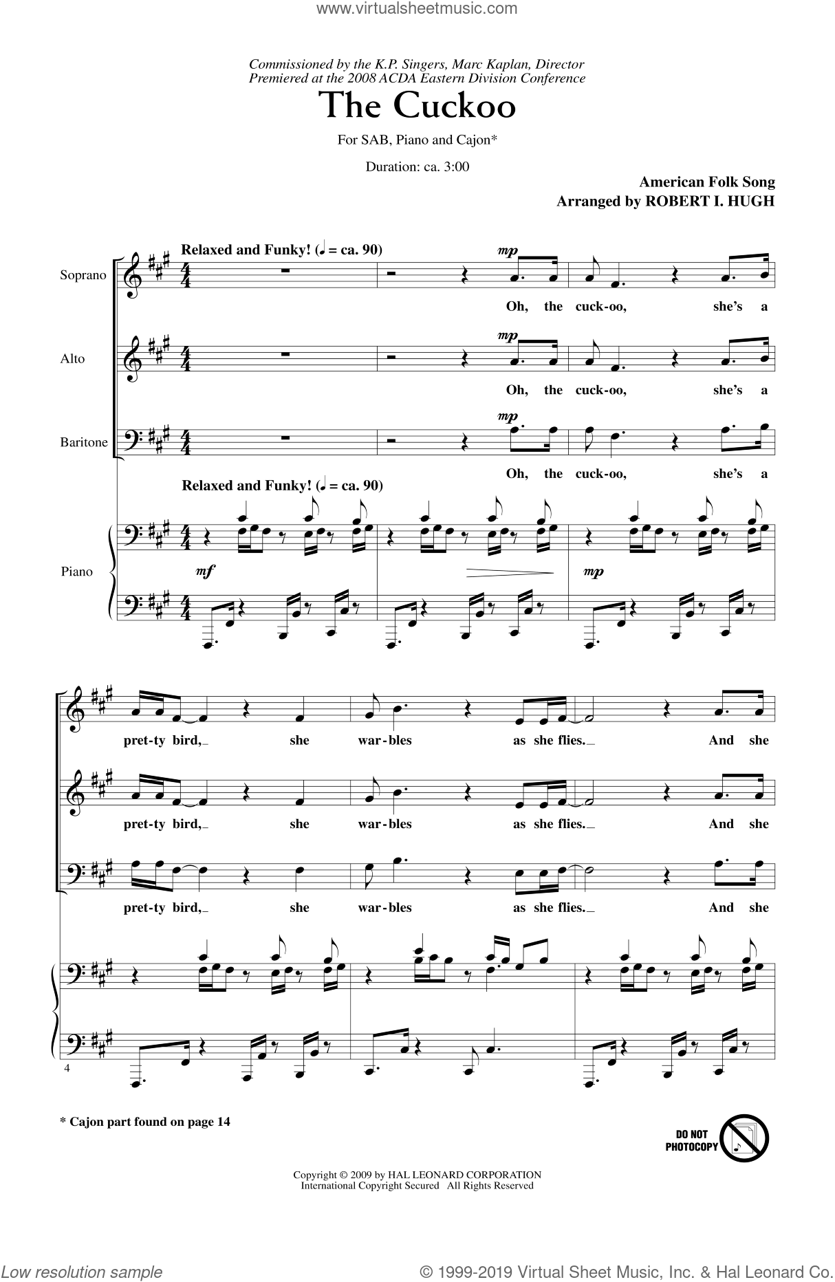 The Cuckoo sheet music for choir (SAB) by Robert Hugh. Score Image Preview.