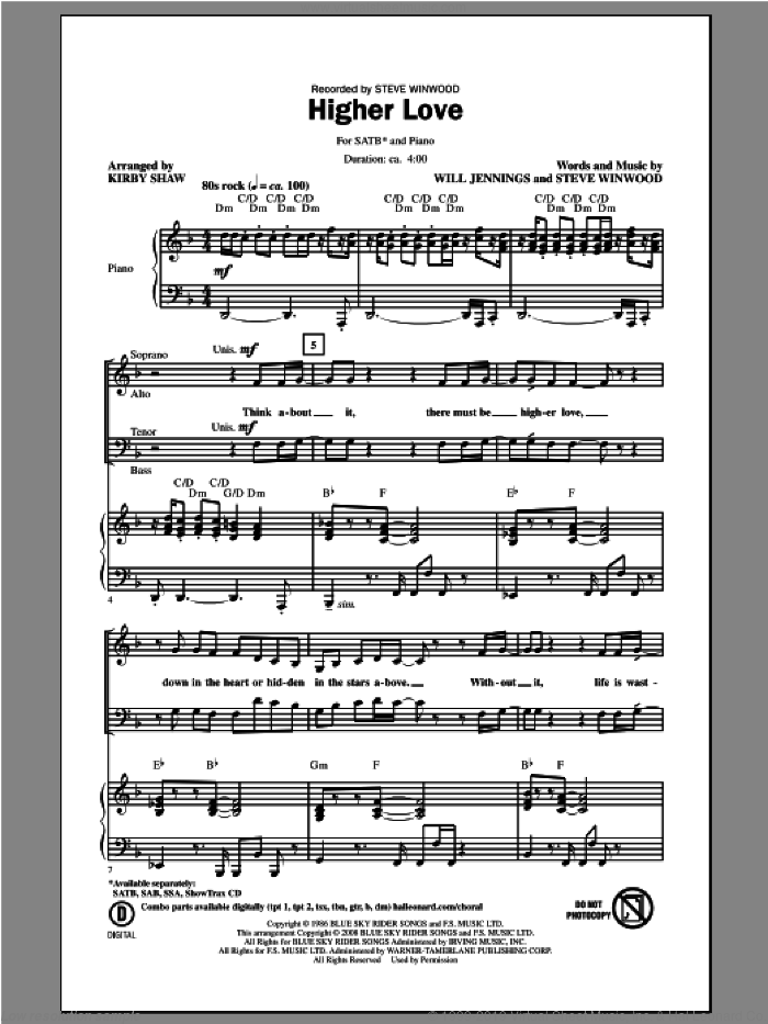 Higher Love sheet music for choir (SATB: soprano, alto, tenor, bass) by Kirby Shaw and Steve Winwood, intermediate