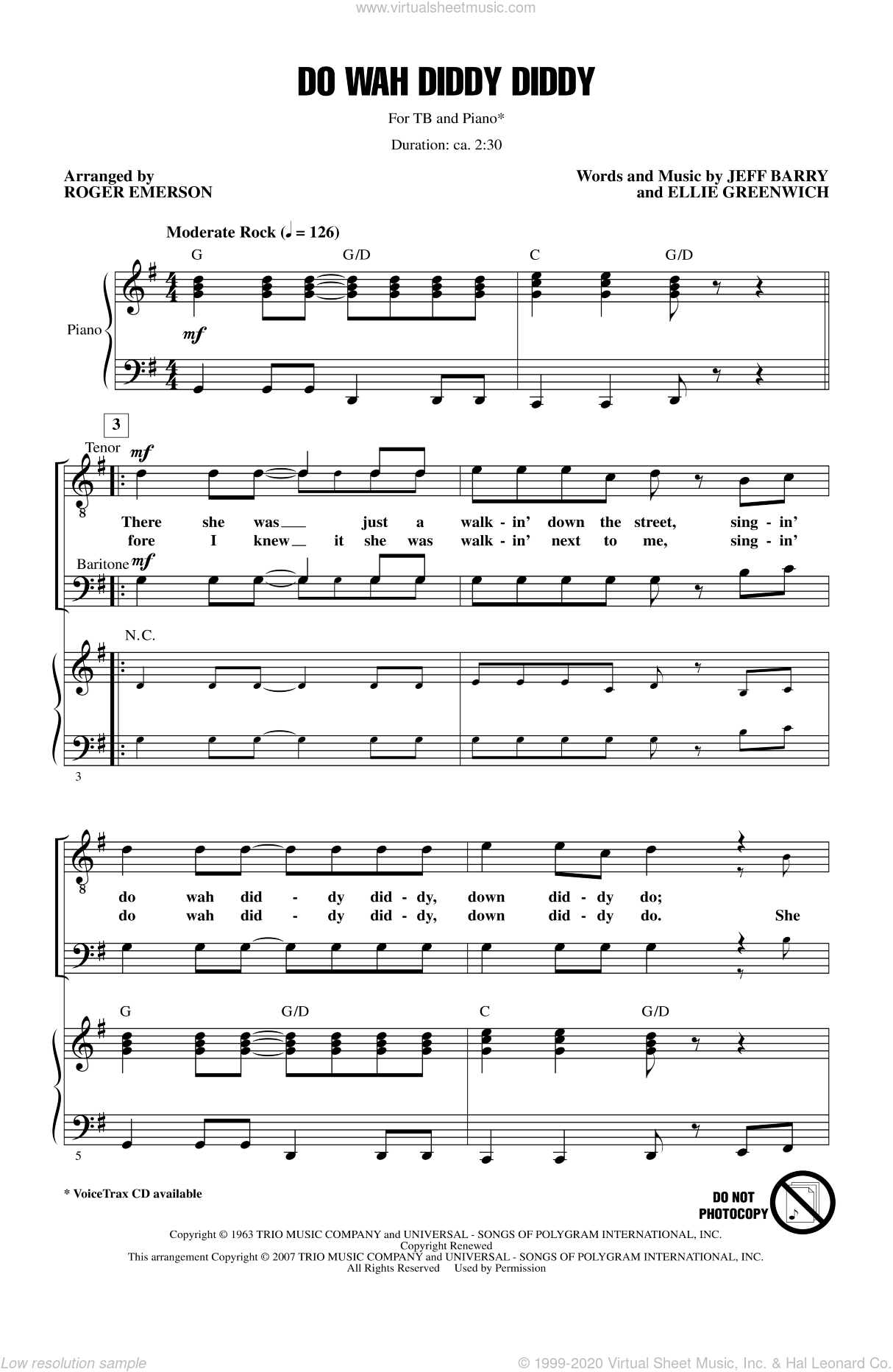 Do Wah Diddy Diddy sheet music for choir (TB: tenor, bass) by Roger Emerson, intermediate skill level