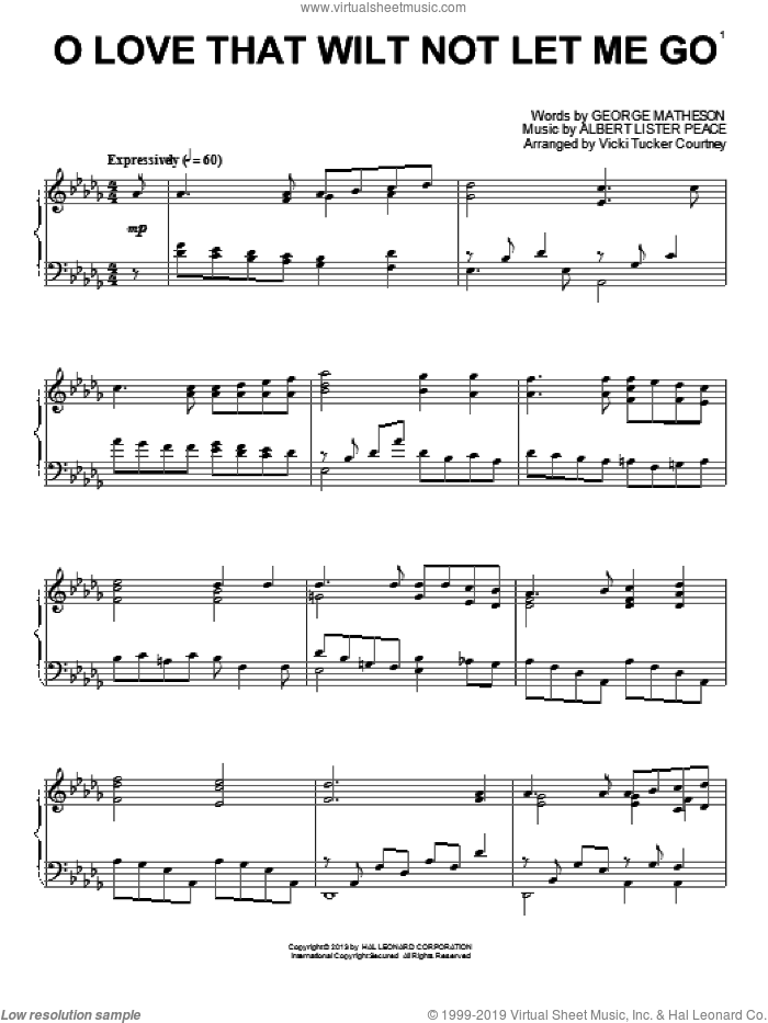 O Love That Wilt Not Let Me Go sheet music for piano solo by Vicki Tucker Courtney, intermediate skill level